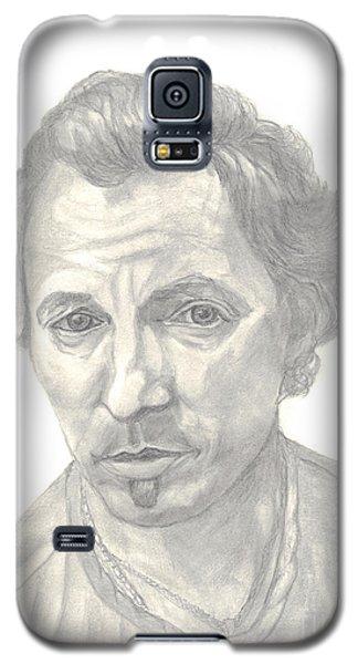 Galaxy S5 Case featuring the drawing Bruce Springsteen Portrait by Carol Wisniewski