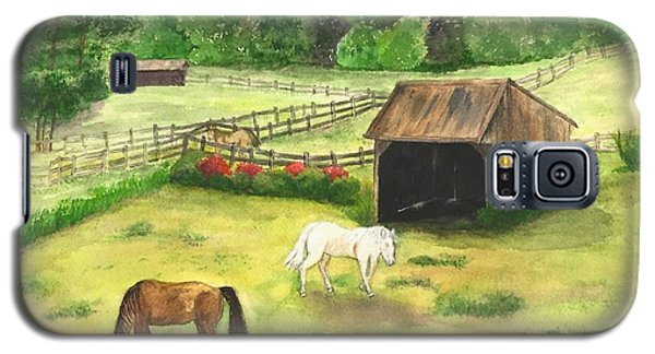 Galaxy S5 Case featuring the painting Bucks County Horse Farm by Lucia Grilletto