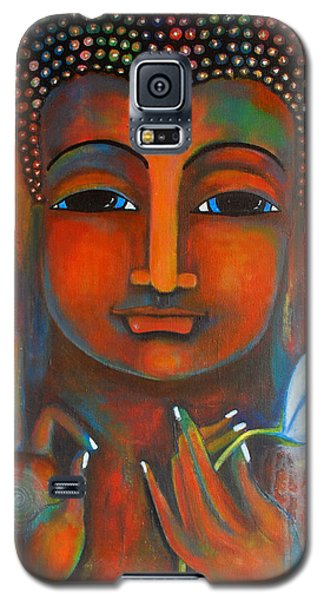 Galaxy S5 Case featuring the painting Buddha With A White Lotus In Earthy Tones by Prerna Poojara