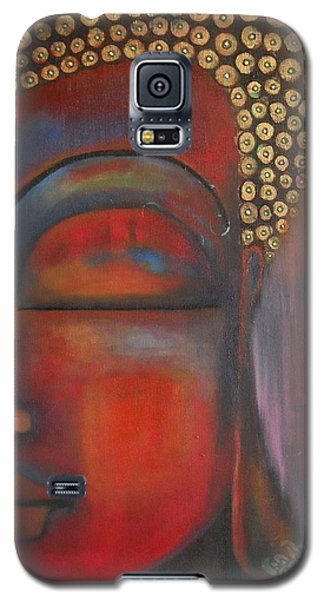 Galaxy S5 Case featuring the painting Buddha With Floating Lotuses by Prerna Poojara