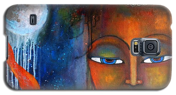 Galaxy S5 Case featuring the painting Buddhas Robe Reaching For The Moon by Prerna Poojara