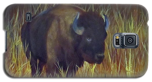 Galaxy S5 Case featuring the painting Buffalo Grazing by Roseann Gilmore