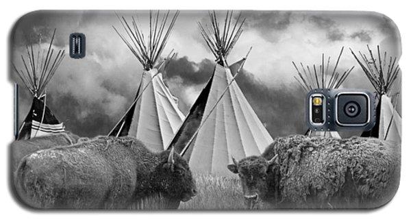 Buffalo Herd Among Teepees Of The Blackfoot Tribe Galaxy S5 Case