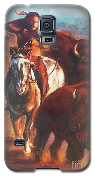Galaxy S5 Case featuring the painting Buffalo Hunt by Karen Kennedy Chatham
