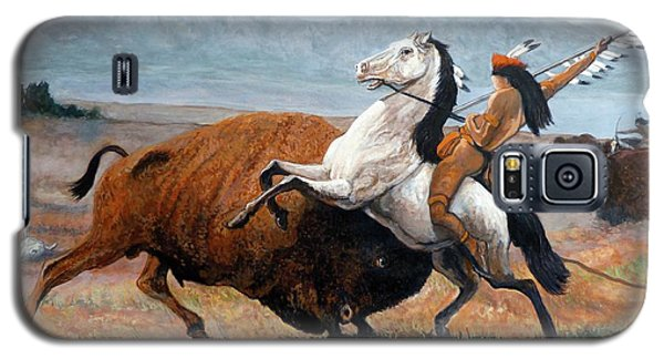 Galaxy S5 Case featuring the painting Buffalo Hunt by Tom Roderick