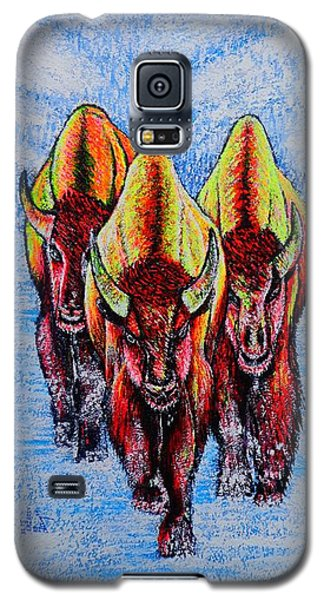 Galaxy S5 Case featuring the painting Buffalos by Viktor Lazarev