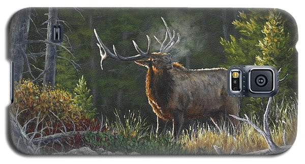Galaxy S5 Case featuring the painting Bugling Bull by Kim Lockman