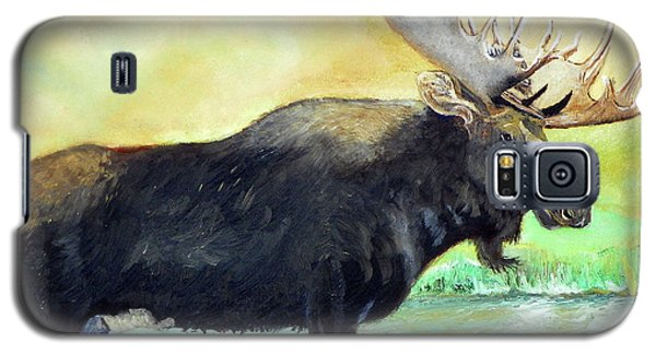 Bull Moose In Mid Stream Galaxy S5 Case by Sherril Porter