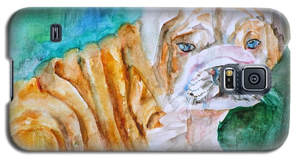Galaxy S5 Case featuring the painting Bulldog Cub  - Watercolor Portrait by Fabrizio Cassetta