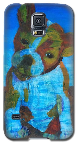 Galaxy S5 Case featuring the painting Bulldog Puppy by Donald J Ryker III