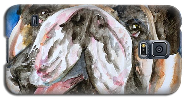 Galaxy S5 Case featuring the painting Bulldog - Watercolor Portrait.3 by Fabrizio Cassetta