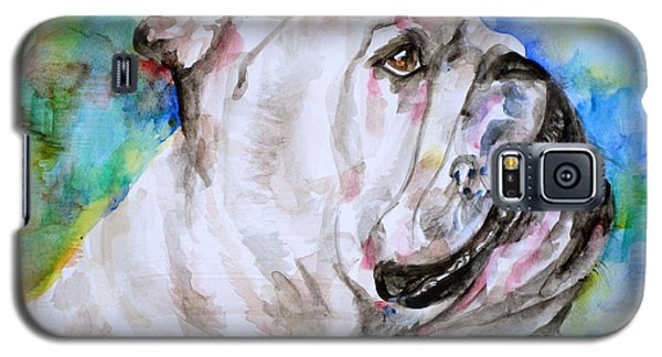 Galaxy S5 Case featuring the painting Bulldog - Watercolor Portrait.4 by Fabrizio Cassetta