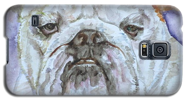 Galaxy S5 Case featuring the painting Bulldog - Watercolor Portrait.5 by Fabrizio Cassetta