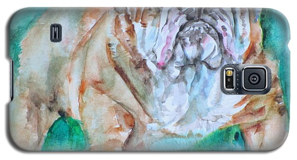 Galaxy S5 Case featuring the painting Bulldog - Watercolor Portrait.6 by Fabrizio Cassetta