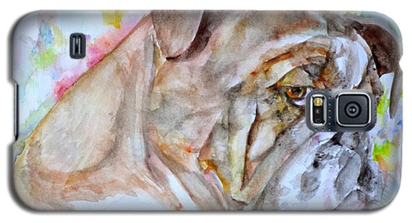 Galaxy S5 Case featuring the painting Bulldog - Watercolor Portrait.7 by Fabrizio Cassetta