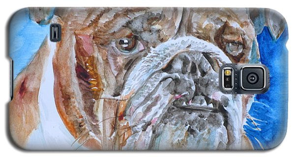 Galaxy S5 Case featuring the painting Bulldog - Watercolor Portrait.8 by Fabrizio Cassetta