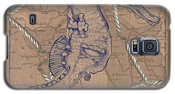 White Horse Galaxy S5 Case - Burlap Seahorse by Debbie DeWitt