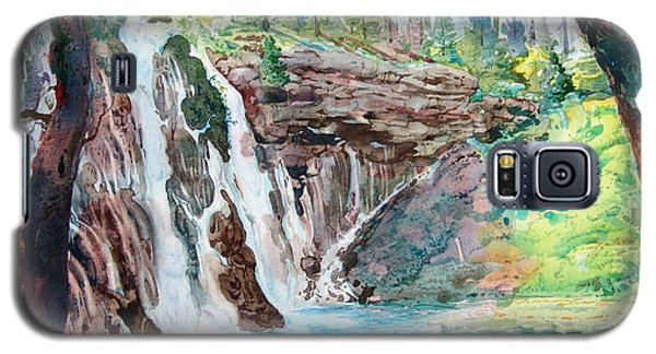 Galaxy S5 Case featuring the painting Burney Falls by John Norman Stewart