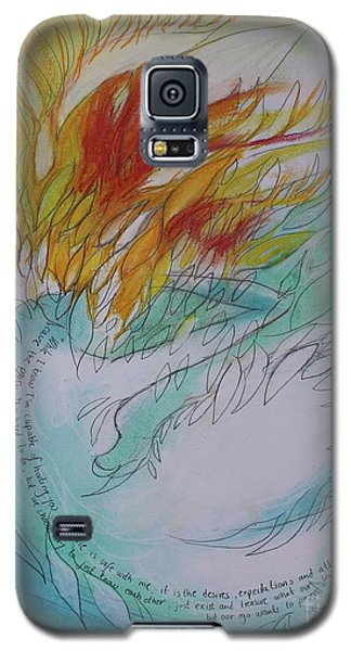 Galaxy S5 Case featuring the drawing Burning Thoughts by Marat Essex