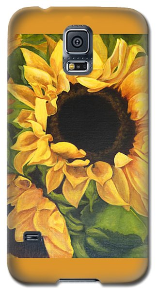 Galaxy S5 Case featuring the painting Burst Of Sunflowers by Sandra Nardone
