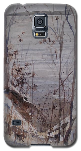 Galaxy S5 Case featuring the painting Burt Lake In Winter by Sandra Strohschein