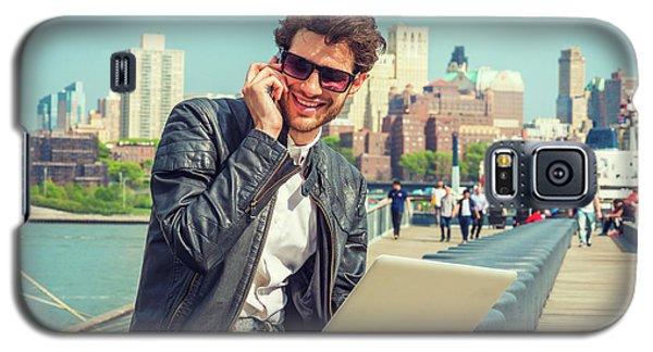 Businessman Enjoying Working Outside Galaxy S5 Case