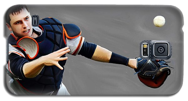 Galaxy S5 Case featuring the painting Buster Posey by Jeff DOttavio