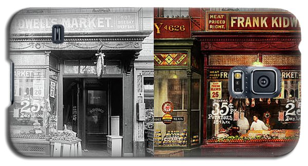 Galaxy S5 Case featuring the photograph Butcher - Meat Priced Right 1916 - Side By Side by Mike Savad