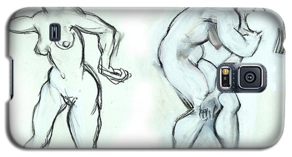 Galaxy S5 Case featuring the mixed media Butoh Dancers - Nudes by Carolyn Weltman