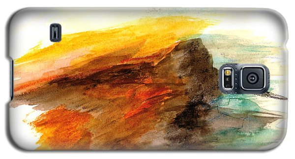 Galaxy S5 Case featuring the painting Butte At Sunset by Fred Wilson