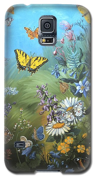 Galaxy S5 Case featuring the painting Butterflies And Wildflowers Of Wyoming by Dawn Senior-Trask