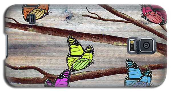 Magnolia Galaxy S5 Case - Butterflies On Rustic Background by Ken Figurski
