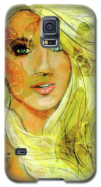 Galaxy S5 Case featuring the painting Butterfly Blonde by P J Lewis