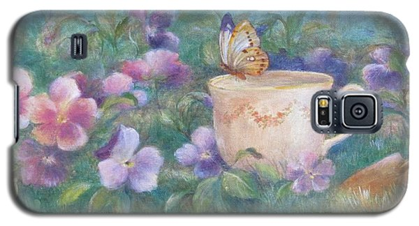 Galaxy S5 Case featuring the painting Butterfly On Teacup by Judith Cheng