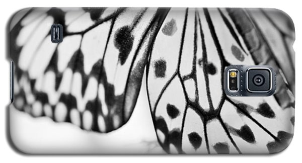 Galaxy S5 Case featuring the photograph Butterfly Wings 3 - Black And White by Marianna Mills