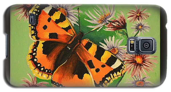 Galaxy S5 Case featuring the painting Butterfly With Asters by Donna Blossom
