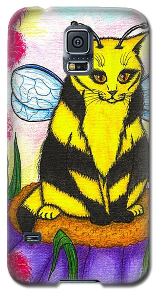 Galaxy S5 Case featuring the painting Buzz Bumble Bee Fairy Cat by Carrie Hawks