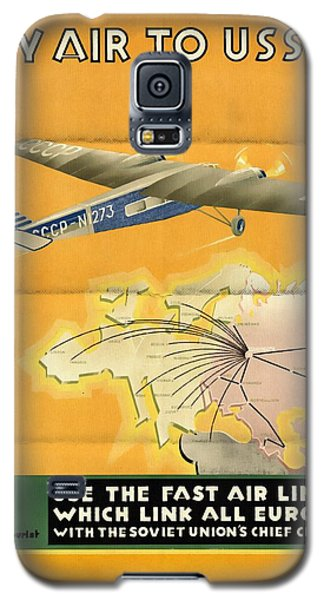 By Air To Ussr With The Soviet Union's Chief Cities - Vintage Poster Folded Galaxy S5 Case