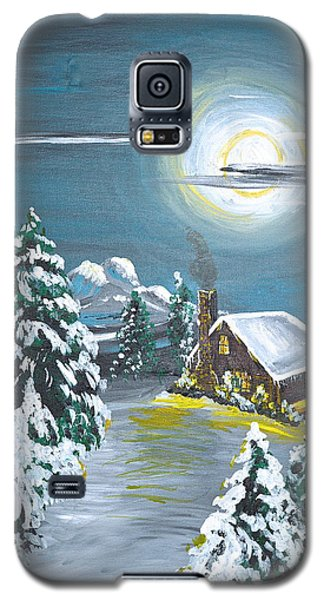 Galaxy S5 Case featuring the painting Cabin In The Woods by Donna Blossom