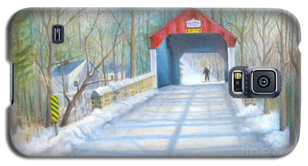 Galaxy S5 Case featuring the painting Cabin Run Bridge In Winter by Oz Freedgood