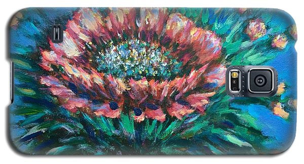 Galaxy S5 Case featuring the painting Cactus Flowers by Laila Awad Jamaleldin