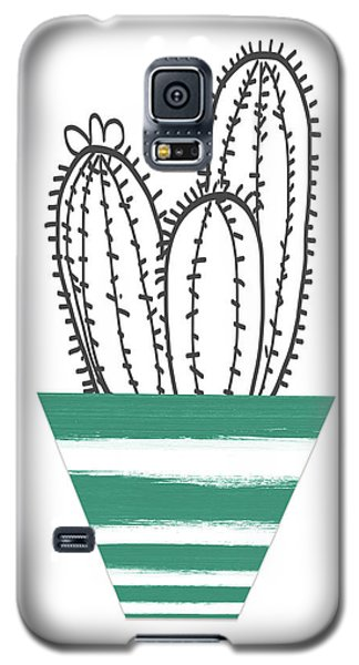 Galaxy S5 Case featuring the mixed media Cactus In A Green Pot- Art By Linda Woods by Linda Woods