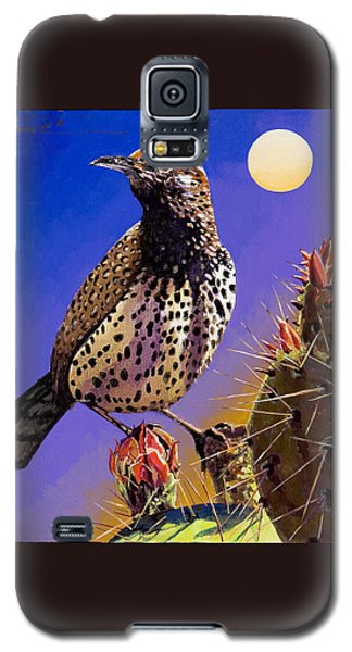 Galaxy S5 Case featuring the painting Cactus Wren by Bob Coonts
