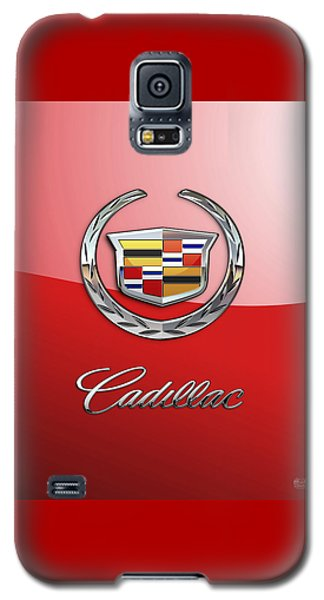 Cadillac - 3 D Badge On Red Galaxy S5 Case by Serge Averbukh