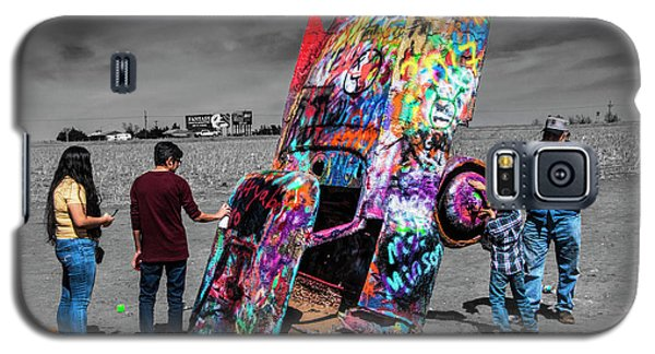 Galaxy S5 Case featuring the photograph Cadillac Ranch Spray Paint Fun Along Historic Route 66 By Amarillo Texas by Randall Nyhof