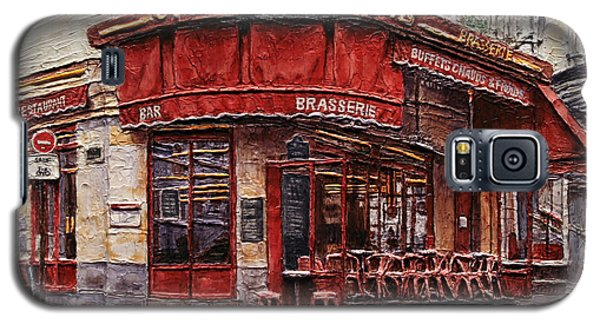 Galaxy S5 Case featuring the painting Cafe Des 2 Moulins- Paris by Joey Agbayani