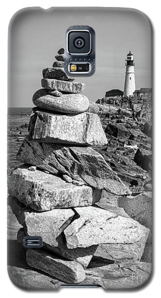 Galaxy S5 Case featuring the photograph Cairn And Lighthouse  -56052-bw by John Bald