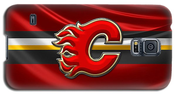 Sport Galaxy S5 Case - Calgary Flames - 3d Badge Over Flag by Serge Averbukh