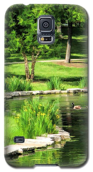 Galaxy S5 Case featuring the painting Calm Lake Ellyn by Christopher Arndt