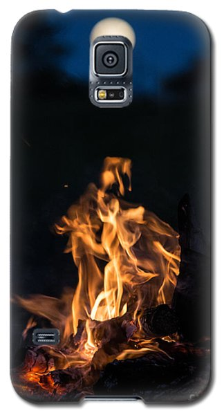 Camp Fire And Full Moon Galaxy S5 Case
